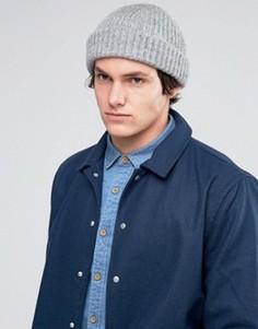 Серая шапка‑бини в рубчик ASOS - Серый