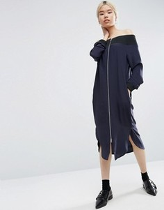 Платье миди из 100% шелка с открытыми плечами ASOS WHITE - Черный