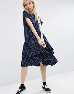 Платье миди в полоску с ярусной отделкой ASOS WHITE - Мульти