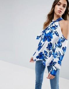 Топ с открытыми плечами и синим цветочным принтом ASOS - Мульти