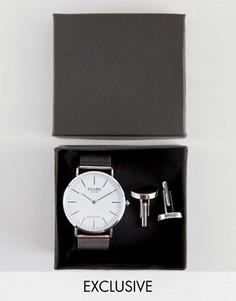 Подарочный набор с серебристыми часами и запонками Reclaimed Vintage - Серебряный