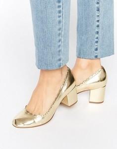 Туфли на каблуке с фактурной отделкой по краю ASOS SULTAN - Золотой