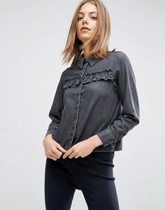 Выбеленная черная джинсовая рубашка с оборками ASOS - Черный