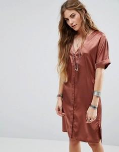 Атласное чайное платье на пуговицах Glamorous - Медный