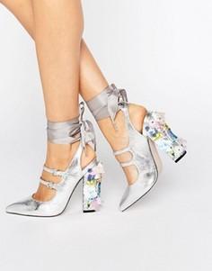 Остроносые туфли на каблуке с отделкой ASOS PETROLEUM - Серебряный