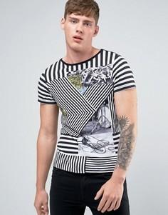 Полосатая футболка с принтом Diesel T-Diego-DC-HC - Белый