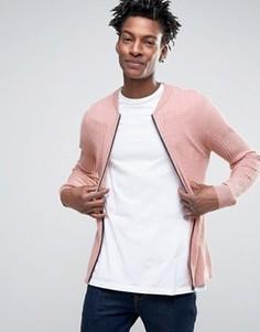 Обтягивающая куртка-пилот из вафельного трикотажа ASOS - Розовый