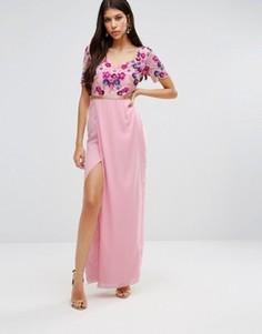 Платье макси с вышивкой на лифе и разрезом Virgos Lounge Bella - Розовый