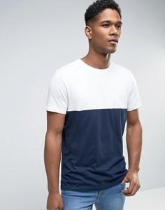 Темно-синяя футболка в стиле колор блок New Look - Темно-синий