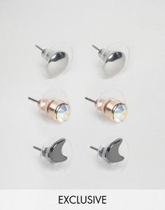 3 пары сережек-гвоздиков DesignB - Мульти
