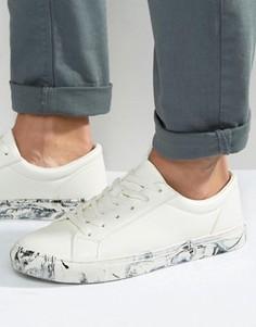 Белые кроссовки с мраморным эффектом на подошве ASOS - Белый
