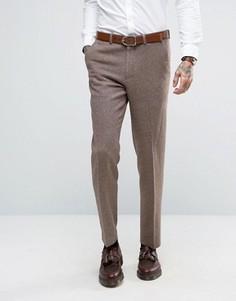 Серо-желтые узкие брюки с добавлением шерсти ASOS - Бежевый