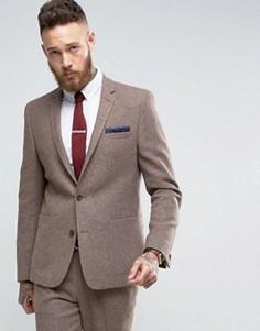 Серо-желтый узкий пиджак с добавлением шерсти ASOS - Бежевый