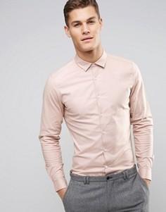 Розовая эластичная оксфордская рубашка узкого кроя в строгом стиле ASOS - Розовый