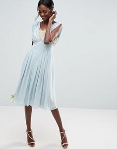 Платье миди с кружевной вставкой ASOS WEDDING - Синий