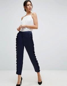Узкие брюки с оборкой ASOS - Темно-синий