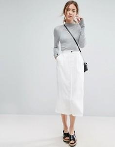 Саржевая юбка миди с карманами ASOS - Кремовый
