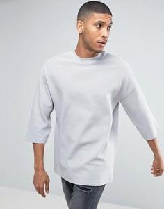 Свободная футболка в рубчик с рукавами 3/4 ASOS - Серый
