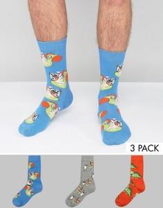 Набор из 3 пар носков с принтом мопсов ASOS - Мульти