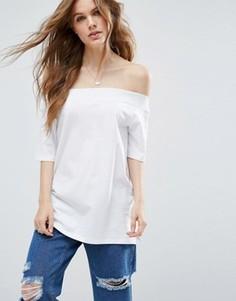 Свободная футболка с открытыми плечами ASOS - Белый
