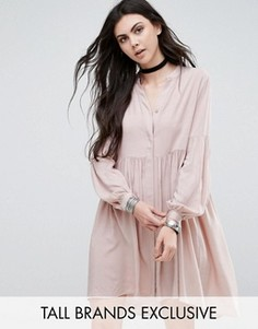 Короткое приталенное платье со складками Glamorous Tall - Черный