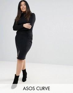 Черная джинсовая юбка-карандаш ASOS CURVE - Черный