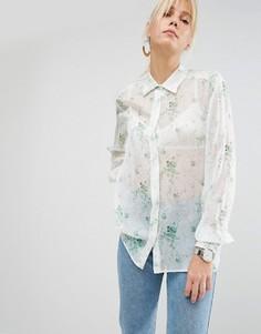 Полупрозрачная блузка с цветочным принтом Sportmax Code - Белый