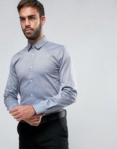 Рубашка узкого кроя из эластичной ткани в крапинку HUGO by Hugo Boss Efin - Темно-синий