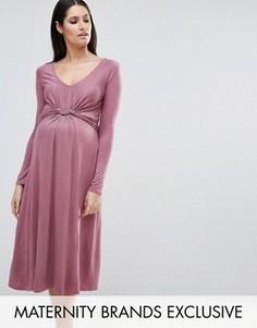 Платье миди с длинными рукавами и узлом спереди Bluebelle Maternity - Фиолетовый