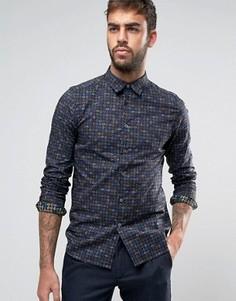Темно-синяя узкая рубашка с принтом пейсли PS by Paul Smith - Темно-синий