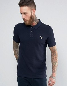 Темно-синяя футболка-поло узкого кроя с логотипом PS by Paul Smith Zebra - Темно-синий