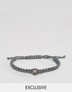 Серый плетеный браслет со стразами DesignB - Серый