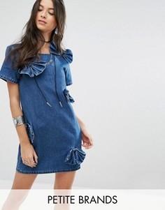 Джинсовое платье с бантиком Glamorous Petite - Синий