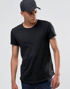 Удлиненная футболка с необработанными краями Esprit - Черный
