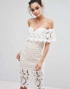 Платье миди из премиум-кружева с открытыми плечами Love Triangle - Белый