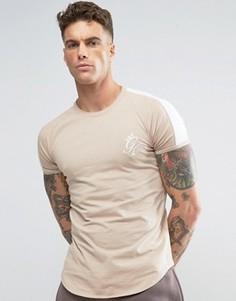 Обтягивающая футболка с контрастными рукавами и логотипом Gym King - Зеленый