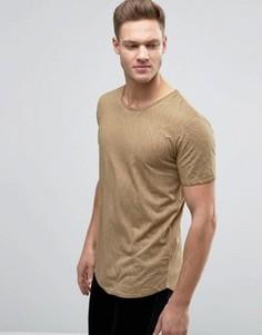 Выбеленная футболка с мятым эффектом и закругленным краем Jack & Jones Originals - Синий
