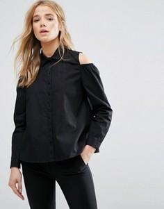 Рубашка с вырезами на плечах и пышными и рукавами New Look - Черный