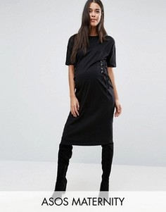 Платье-футболка миди для беременных ASOS Maternity - Черный