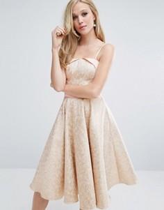 Жаккардовое платье миди с юбкой-клеш Chi Chi London - Розовый