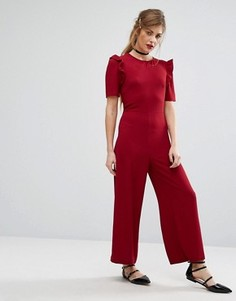 Комбинезон с рукавами рюшами Fashion Union - Красный
