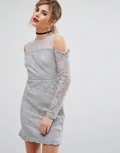 Кружевное платье с вырезами на плечах Fashion Union - Серый