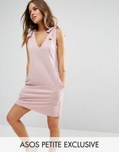 Трикотажное платье с бантами на плечах ASOS PETITE - Розовый