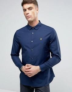Темно-синяя стретчевая рубашка узкого кроя на пуговицах с логотипом Lyle & Scott - Темно-синий