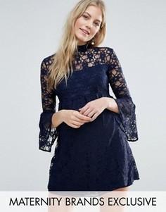 Кружевное приталенное платье с расклешенными рукавами Queen Bee - Темно-синий