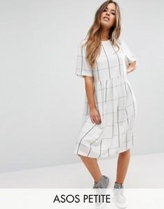 Платье миди в клетку с присборенной юбкой ASOS PETITE - Мульти