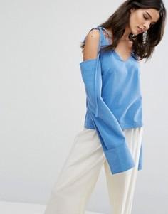 Топ с открытыми плечами и завязками House Of Sunny - Синий