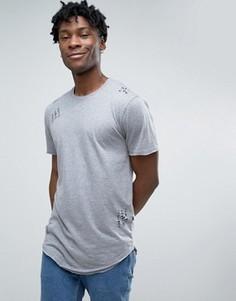 Состаренная футболка с асимметричным краем Only & Sons - Серый