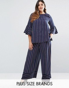 Комбинируемые широкие брюки в полоску Lovedrobe - Темно-синий