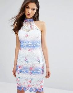 Разноцветное кружевное платье миди с высокой горловиной Paper Dolls - Мульти